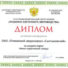 Диплом за шкурки норки тёмно-коричневой — 19-й специализированный конкурс 2017-02